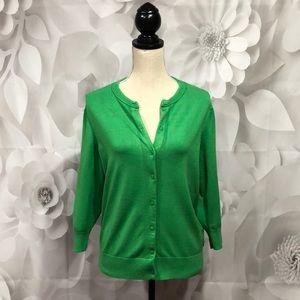 Ellen Tracy Green 3/4 Sleeve Button Up Cardigan L